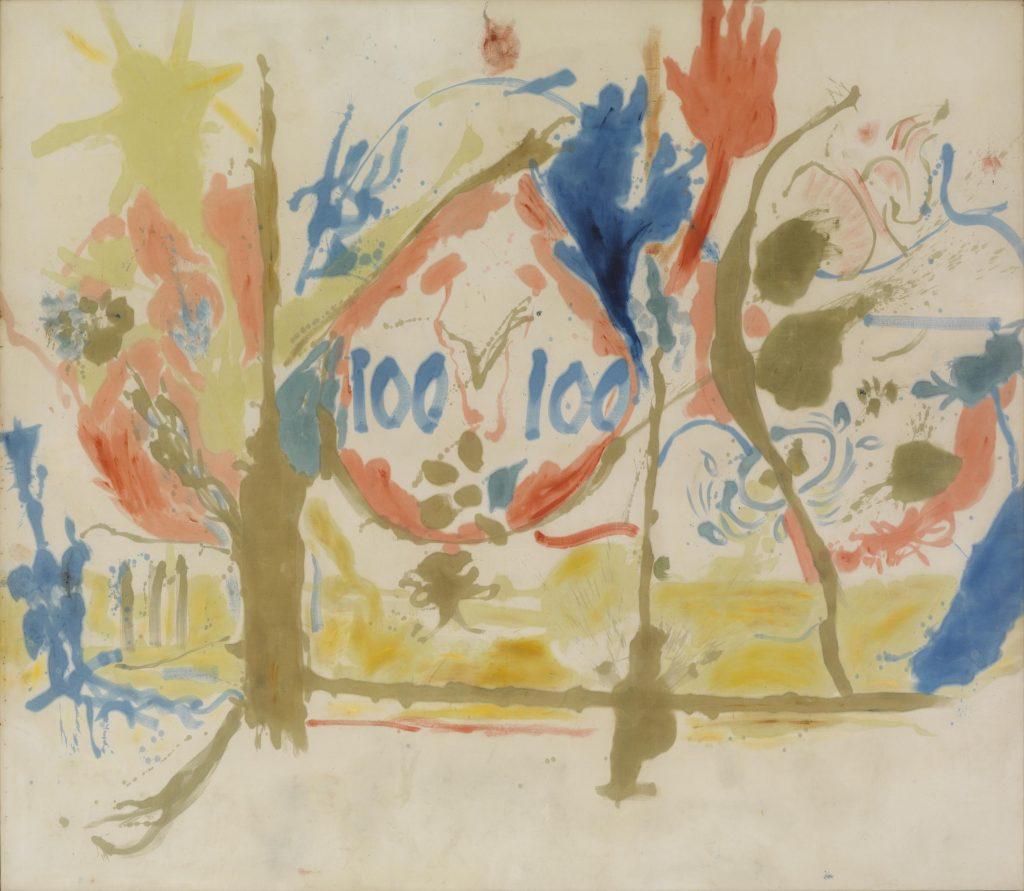 Imagen del lienzo ''Edén'', de Helen Frankenthaler. Pintado en 1956, es una muestra de su característico estilo.