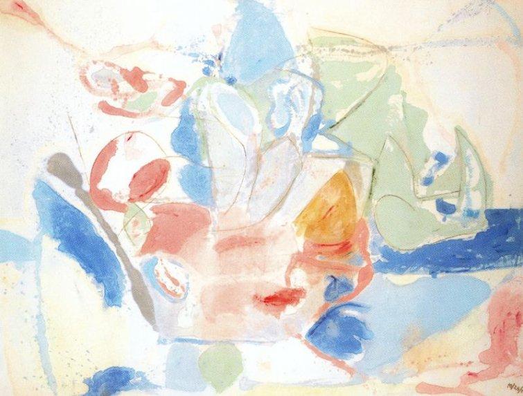 Imagen del óleo sobre lienzo, ''Montañas y mar'', de la artista helen Frankenthaler.